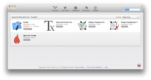 Searching for Xcode in the Mac App Store