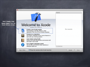 Creating a new project from the Xcode Welcome Screen