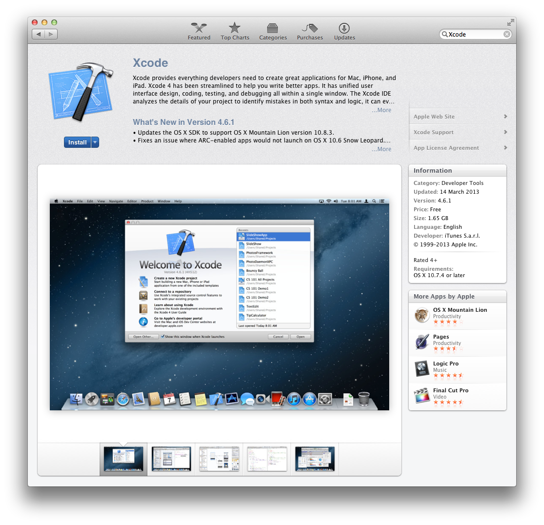 The Xcode page in the Mac App Store