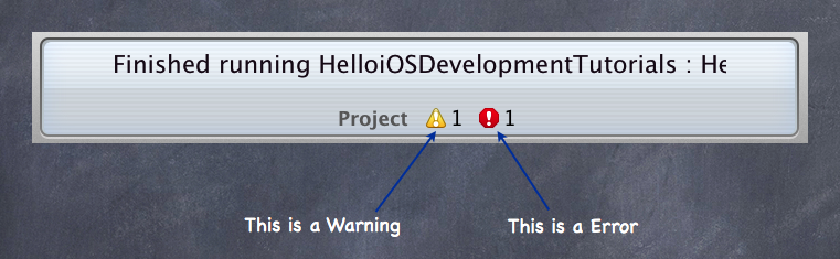 Warnings and Errors in the Xcode Messages Panel