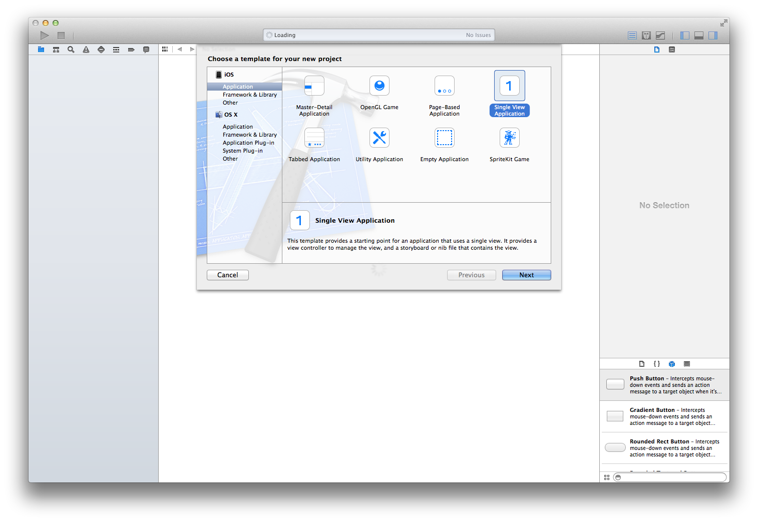 Choose a Project Template in Xcode 5
