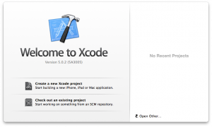 Xcode 5 Welcome Window
