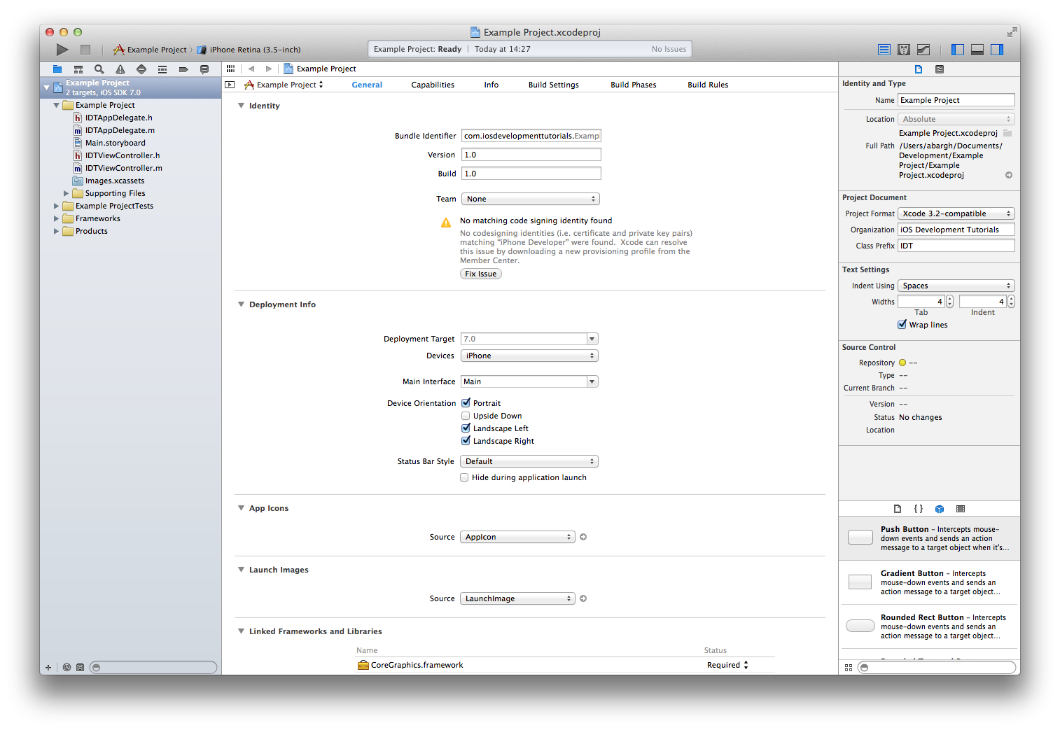 Xcode Workspace Window Showing Our New Project